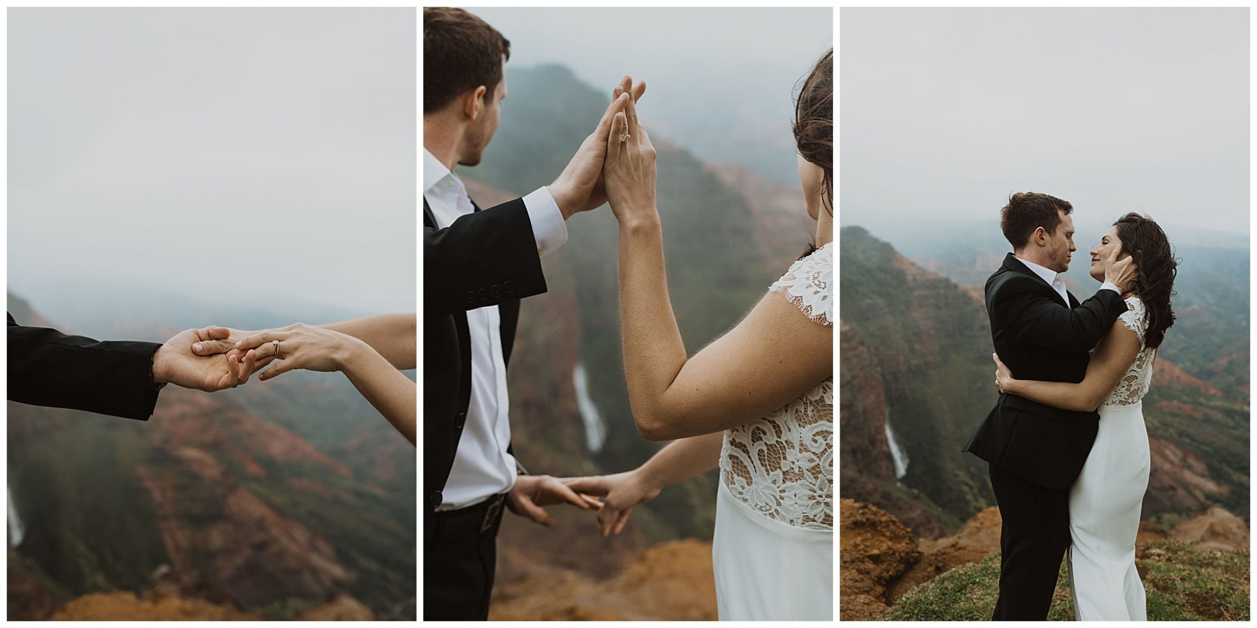 bride and groom sharing an intimate ceremony during their elopement on the cliffs of Waimea Canyon in Kauai, Hawaii