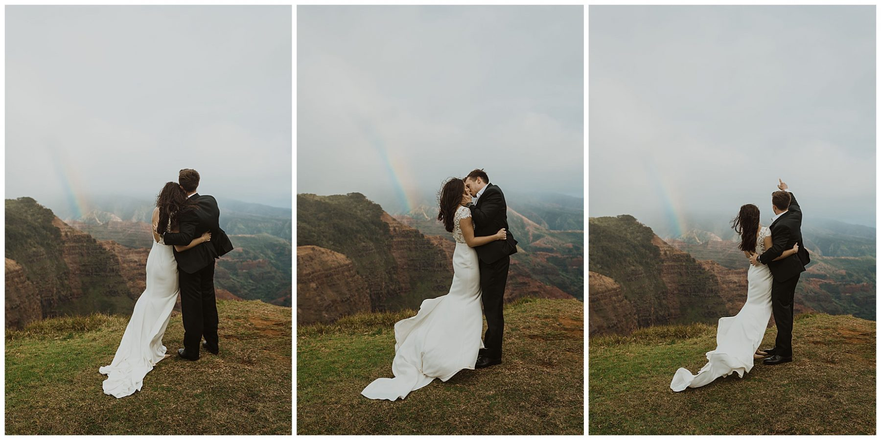 bride and groom exchanging vows during their elopement on the cliffs of Waimea Canyon in Kauai, Hawaii