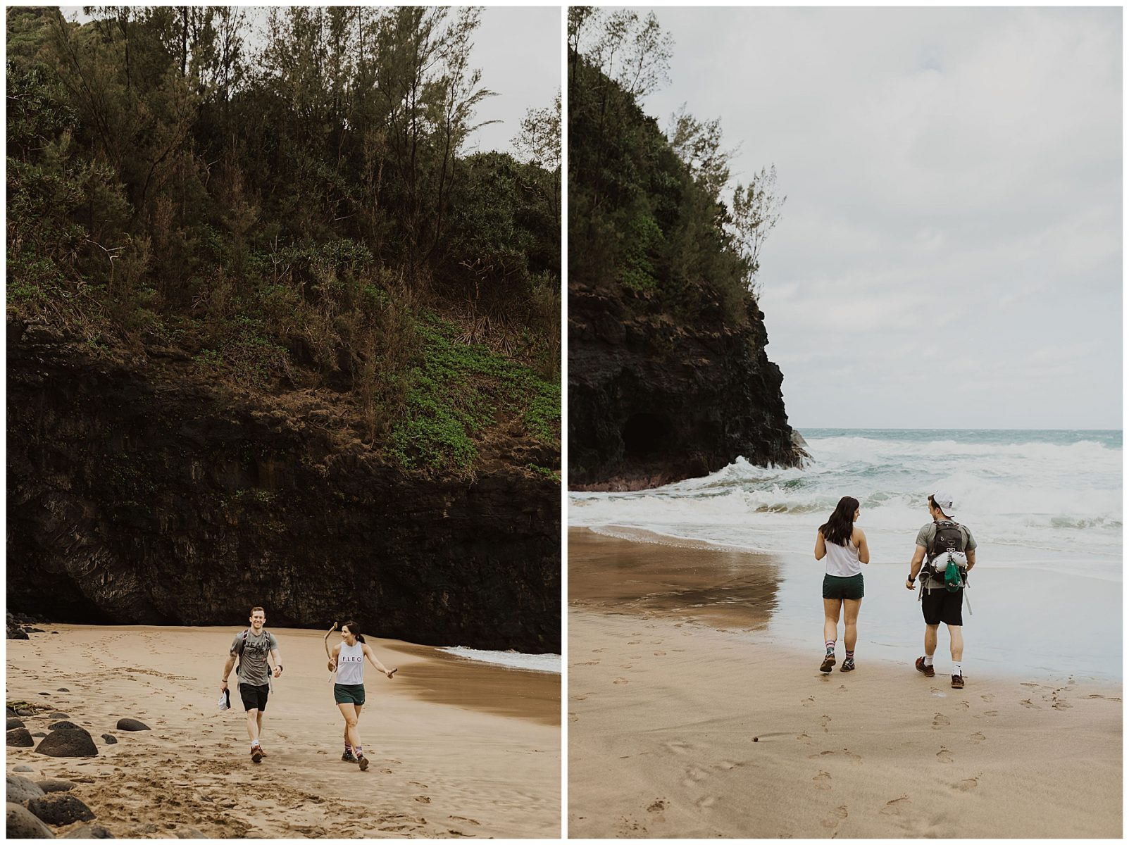 bride and groom hiking during their adventurous elopement on the cliffs of Waimea Canyon in Kauai, Hawaii