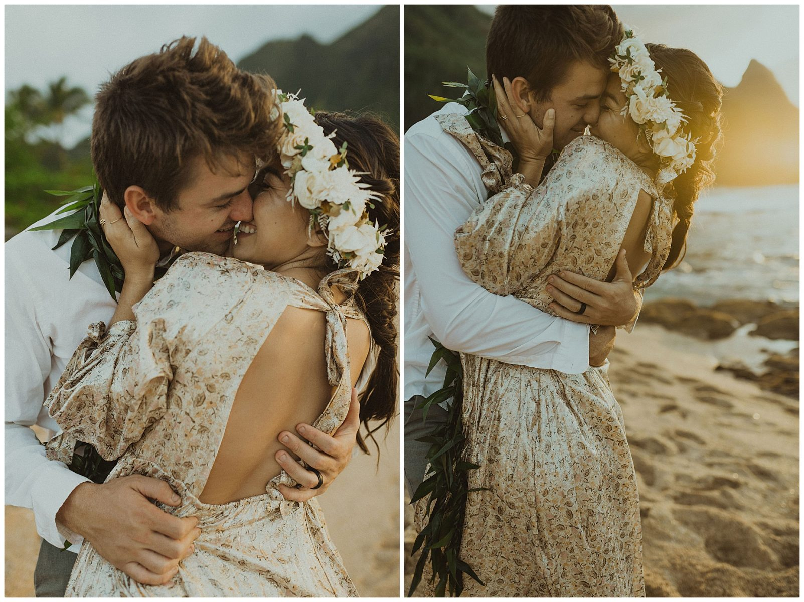 bride dressed in a gold dress holding hands with her groom, dressed in Hawaiian attire during their elopement on the beach of Kauai