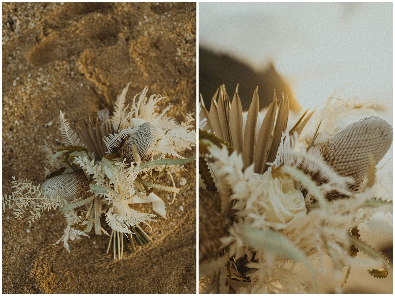 boho dried bridal bouquet on the beach in hawaii